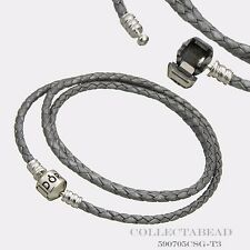 "Authentic Pandora Silver Small Triple Grey 20.7"" Leather Bracelet 590705CSG-T1"