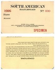 1916 South American Speciman Railroad Pass Ticket