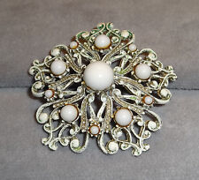 Vintage Fabulous Florenza French White Enamel~Milk Glass Cabochons~Floral Brooch