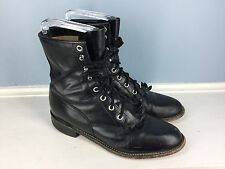 JUSTIN black leather Lace Up Women Riding Roper Boots Women 7.5 Kiltie cowboy