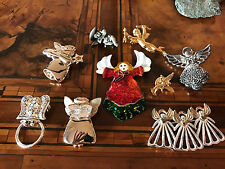 Rare! Vintage Lot Christmas Angel Brooch Pin Lotto Spilla Angelo di Natale