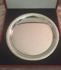 "VINTAGE 1980 CARTIER 11"" SILVER PEWTER PLATE/SERVING TRAY RED BOX/FELT BAG"