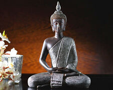 silver tone sitting juliana thai sitting meditating peace buddha figurine statue