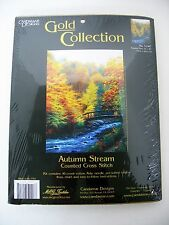 """Autumn Stream Cross Stitch Kit Gold Collection Candamar 12"""" x 16"""" Scenic Water"""
