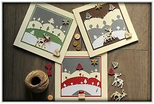 SET OF 3 Beautiful Handmade Christmas Cards - IN SNOW - High quality, made in UK