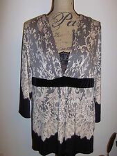 Soma Limited Edition Luxurious Lace Sleep Top NWT Beige/Black XL