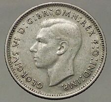 1940 AUSTRALIA - Sixpence SILVER Coin - UK King George VI Coat-of-Arms i57844