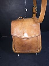 Vintage Fossil Brown Distressed Leather Cross Body Bag Organizer