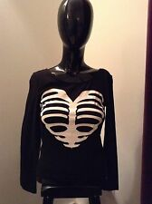 H & M Divided Shimmery Heart Ribcage Sternum Cropped Shirt - S