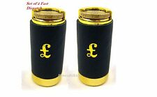 NEW £1 one Pound cash change  2x COIN HOLDER dispenser pocket taxi Black leather