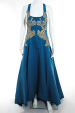 Marchesa Notte Blue Gilded Royal Teal Gown Size 8 New 10298016