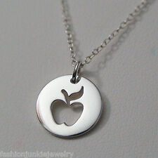 Apple Necklace - 925 Sterling Silver - Charm Apple Food Teacher Cutout NEW