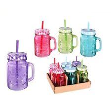 Trinkglas bunt mit Deckel Trinkhalm 6er Set 450ml, Party Becher Glas mit Henkel