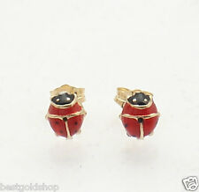 3D Black Red LadyBug Lady Bug Stud Earrings Push Back Real 14K Yellow Gold
