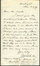 MYSTERY Autograph Letter Signed - Wm (?) Baker - 1889
