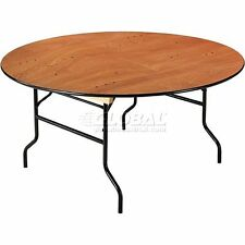 """Interion Plywood Folding Banquet Table 60"""" Dia. Round"""