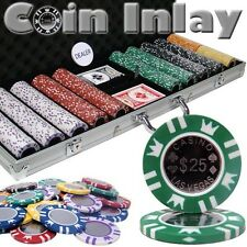 New 500 Coin Inlay 15g Clay Poker Chips Set with Aluminum Case - Pick Chips!