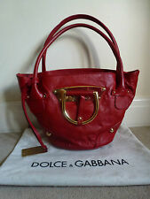 DOLCE & GABBANA Red/Gold Trim Leather Handbag & Dustbag