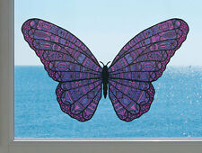 """CLR:WND - Patterned Butterfly - See-Through Vinyl Window Decal ©YYDC(6.5""""w x4""""h)"""