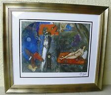 """Chagall """"To my wife"""" Rare Framed Lithograph,signed,limited edition w/certificate"""