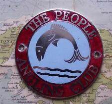 c1960 Old Vintage Chrome & Enamel  Car Mascot Badge for The People Angling Club