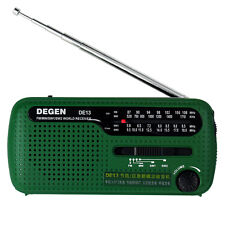 Green DEGEN DE13 FM MW SW Crank Dynamo Solar Emergency Radio World Receiver LED