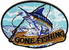 """(A3) MARLIN Gone Fishing 3.5"""" x 2.5"""" sew / iron on patch (4513) Cap Jacket"""