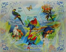 Parrots  birds parrot s/s hexagon shape stamps Tchad 2011 MNH #tchad2011-34