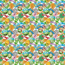 "Nickeledeon Ninja Turtles Tmnt Icon Toss 100% cotton 44"" wide fabric by the yard"