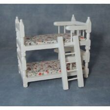 Streets Ahead 1/12th Scale Dolls House Miniatures White Wooden Bunk Beds DF252