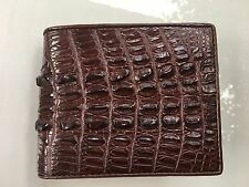 100% Autentico COCCODRILLO ALLIGATOR TAIL pelle cuoio Bifold Uomini Marrone Scuro WALLET
