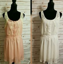 2 Lilly Lou Lace Dresses Lot 3 pieces Sheer Pink White Boho Flowy Size L Large