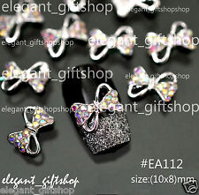 #EA112 10pcs 3D Alloy Jewelry  Nail Art Deco Multicolor Bow Glitter Rhinestone