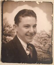 Vintage Photograph Photo Booth Handsome Young Man Great Pose 1940s Dk