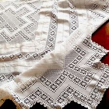 Vintage Hand Crochet White Linen Lace Tablecloth 50x52 Inches