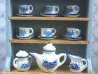 1:12 Scale Ceramic 15 Piece Blue & White Dolls House Miniature Tea Set W10