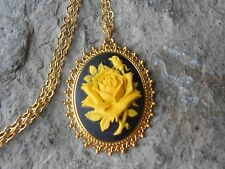 YELLOW ROSE ON BLACK CAMEO GOLD TONE PENDANT NECKLACE - UNIQUE