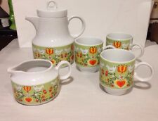 Mid Century Capistrano Japan Teapot Set birds hearts flowers orange yellow green