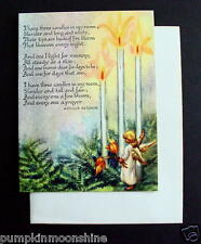 Unused Erica Von Kager Brownie Xmas Greeting Card Pretty Angel & Holiday Candles