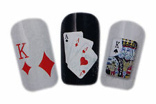 Poker Card Design Nail Art Water Decals Stickers For Natural/False Nails