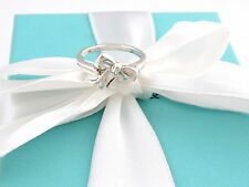 TIFFANY & CO SILVER BOW RIBBON RING BAND SIZE 5 BOX INCLUDED