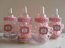12 Pink Fillable Bottles Baby Shower Favors Prizes Games It's a Girl Decoration
