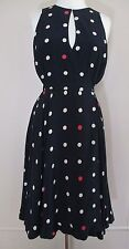Maple Anthropologie Wrap Dress 'Across the Land' navy w/red beige polka dots 6
