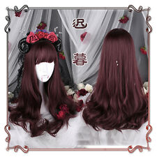 Vintage Japanese Gothic Lolita Harajuku Wine red Cosplay Daily Long Curly Wig