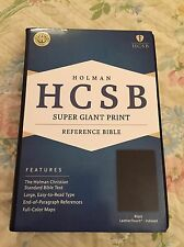 HCSB Super Giant Print Reference Bible, Blk LeatherTouch, Indexed, 2016, Red Ltr