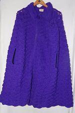 Vintage Purple Grape XL Long Poncho Shawl Cape Wool Yarn Crochet Handmade Heavy