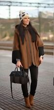 ZARA Black Brown Wool Handmade Combined Poncho Cape Coat M One Size
