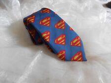 KR1956 Krawatte 100% Seide Spidermann Blau Gelb Rot 142cm Sehr gut