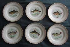 """Lot de 6 l'etoile porcelaine pommier dureil limoges 9 & 1/2"""" assiettes à poisson"""