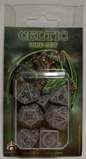 Q-Workshop Celtic Grey and Black D&D Dice Set RPG Brand New NIB SCEL12